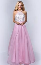 A-Line Floral Appliqued Full-Length Haltered Backless Sleeveless Dress