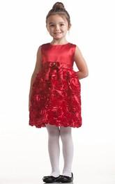 Bowknot Layered Midi Satin Flower Girl Dress