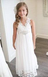 Bohemian V-neck Floor-Length Ethereal Chiffon Sleeveless Empire Flowergirl Dress