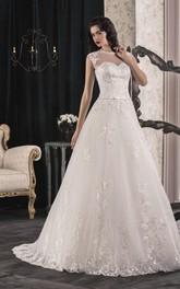 Front-Slit Billusion Corset Back Lace A-Line Dress