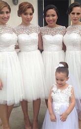 Romantic White Tulle Lace Bridesmaid Dress Short Sleeve