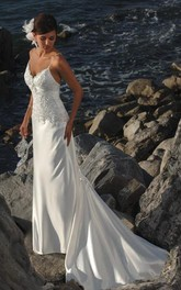 Satin Spaghetti-Strap Column Bridal Dress