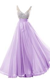 Crystal-Jeweled A-Line V-Neckline Glamorous Chiffon Gown