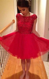A-Line Rhinestone Tulle Short Popular Cap-Sleeve Gown