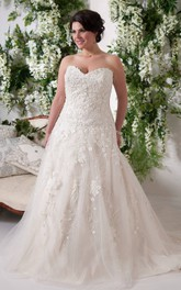 Sweetheart Tulle Lace Appliqued Ball Gown With Court Train And Zipper