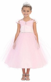 Tiered Sash Illusion Ankle-Length Flower Girl Dress