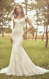 Cap Sleeve Sweetheart Mermaid Lace Wedding Dress With Open Back And Buttons