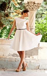Bateau Cap-sleeve short A-line Dress With Deep-V Back