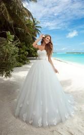 Sleeveless Appliqued Satin Ribbon Floor-Length A-Line Tulle Dress