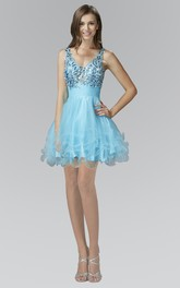 A-Line Satin Crystal Ruffled Short Mini Sleeveless V-Neck Tulle Dress