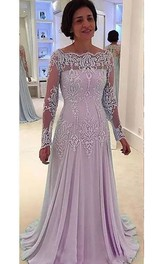 A-line Long Sleeve Floor-length Bateau Chiffon Lace Mother of the Bride Dress with Zipper Back