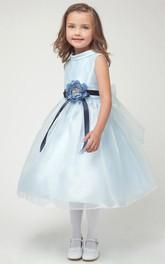 Organza Floral Tea-Length Satin Flower Girl Dress