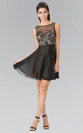 A-Line Jeweled Appliqued Short Mini Sleeveless Bateau Deep-V-Back Dress