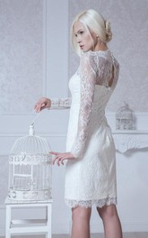 Column Long-Sleeve Short High-Neckline Lace Dress