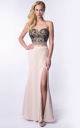2-Piece Side Slit Lace-Bodice Sweetheart Strapless Homecoming Column Dress