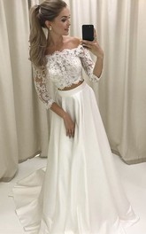 Off-the-shoulder Satin Lace Illusion 3/4 Length Sleeve Wedding Dress