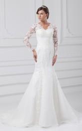 Siren Lace Appliqued Long-Sleeve V-Neckline Gown