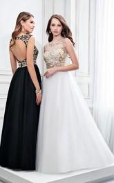 Sleeveless Keyhole Scoop-Neck Crystal Formal Satin Dress