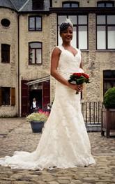 Lace Keyhole Back Bridal Floor-Length Long V-Neckline Dress
