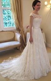 Bateau-Neck Wedding Princess A-Line Long-Train Dress