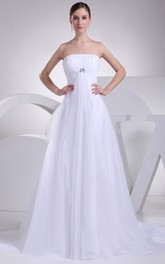 A-Line Ruched Broach Strapless Intricate Dress