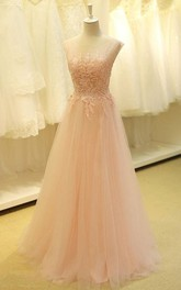 Cap-Sleeve Lace Appliqued Formal Color Lovely Tulle Dress