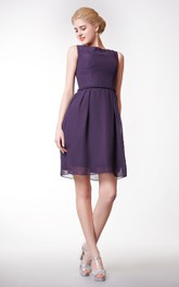 A-Line Chiffon Bateau-Neck Simple Short Dress