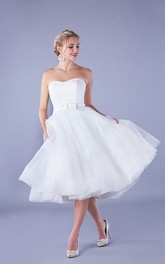 Simple Organza Aline Strapless Knee-length Wedding Dress