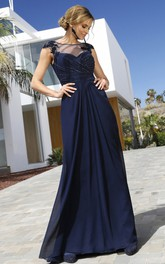 Modest Short Sleeve Sheath Chiffon Bateau Formal Dress with Ruching and Beading