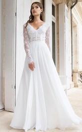 A Line V-neck Chiffon Lace Floor-length Long Sleeve Low-V Back Wedding Dress