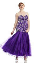 Mermaid Sweetheart Ankle-length plus size Dress With Beading
