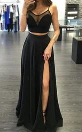 Scoop Spaghetti Taffeta Sleeveless Floor-length Zipper Formal Dress with Split Front