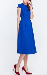 Jewel-Neck Short Sleeve Tea-length Dress With Zipper
