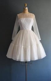 Bateau Illusion Long Sleeve short A-line Dress With Low-V Back