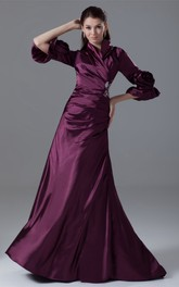Floral Rhinestone Long-Sleeve Exquisite Gown