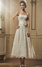 exquisite Strapless A-line Tea-length Wedding Dress With Flower And Applique