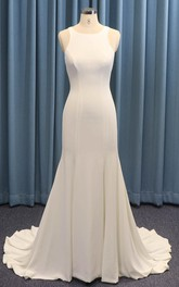 Satin Sleeveless Jewel Neck Mermaid Wedding Dress With Ruching And Illusion Back With Buttons