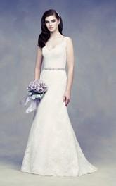 Beaded Satin Sash V Back Elegant Lace Dress