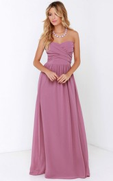 Floor-Length Crisscross Ruched Charming Sweetheart Dress