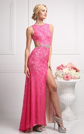 Column Waist Jeweler Split Front Long Jewel-Neck Backless Lace Dress