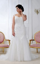 Queen Anne Mermaid Tulle Appliqued Dress With Court Train And Corset Back