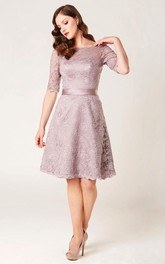 Knee-length Bateau Half Sleeve Lace Dress With Low-V Back