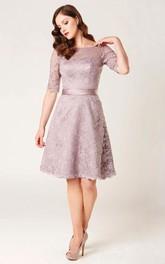 Knee-length Bateau Half Sleeve Lace Dress With Low-V Back