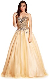 Ball Gown Sweetheart Sequined Sleeveless Tulle Prom Dress