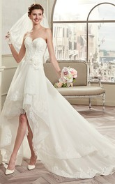 Sweetheart High-low Tiered Lace Wedding Dress With Chapel Train