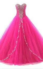 Long Lace Sweetheart Bell Lace-Up Appliqued Tulle Ball Gown