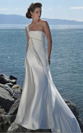 Beaded Long-Train One-Shoulder A-Line Wedding Satin Dress