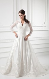 Lace Illusion Long-Sleeve Plunged Scalloped-Neckline Ball Gown
