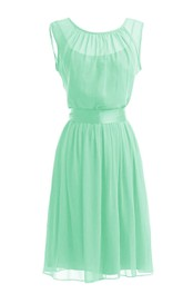 Chiffon Satin Sash Scoop-Neck Cap-Sleeve A-Line Gown