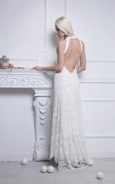 Column Bridal Sleeveless V-Neckline Lace Dress